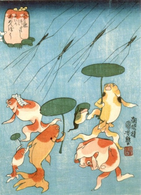 Utagawa Kuniyoshi. Japanese tales of fishes: a sudden downpour of water striders