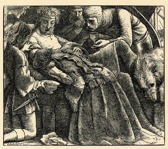 Джон Эверетт Милле. Спасение короля от яда. Иллюстрация к поэзии Теннисона