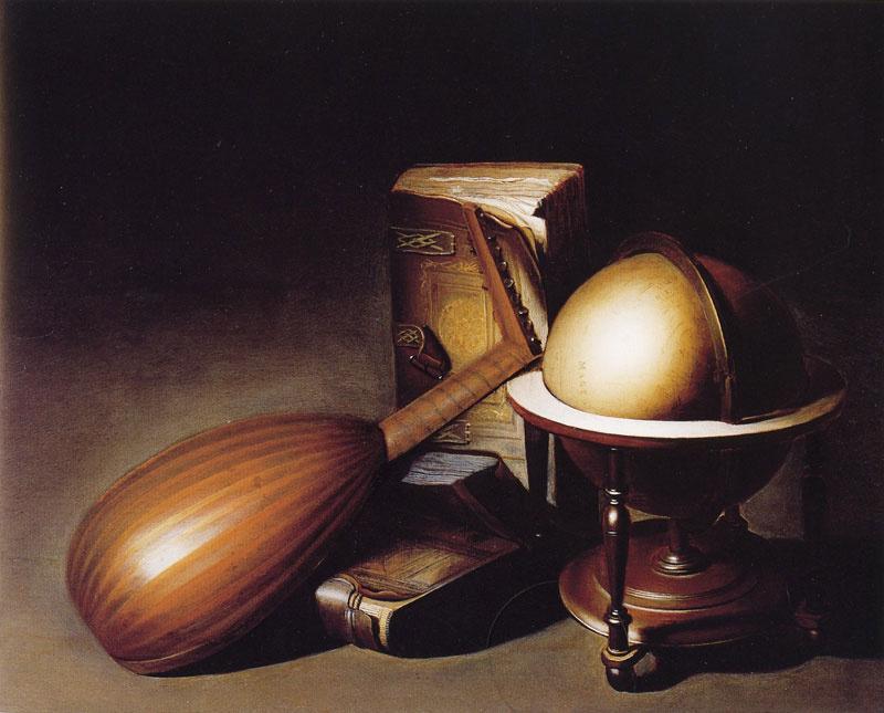 Геррит (Герард) Доу. Натюрморт с глобусом, лютней и книгами