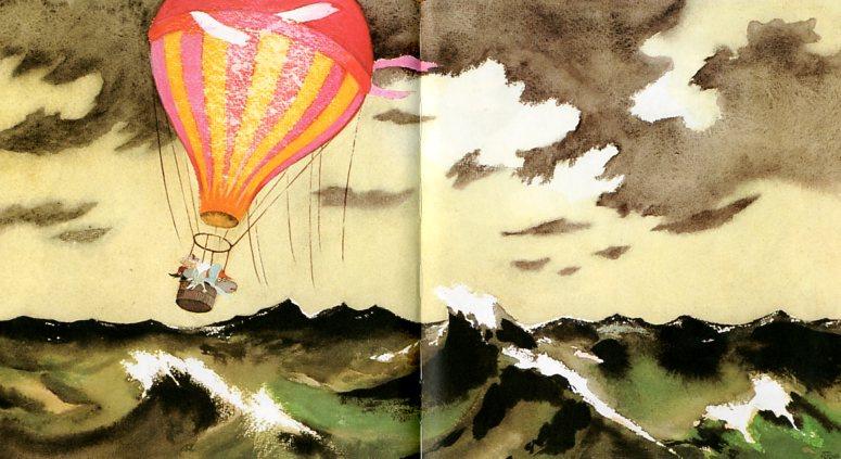 """Туве Янссон. Иллюстрация для книги """"Опасное путешествие"""". На воздушном шаре"""