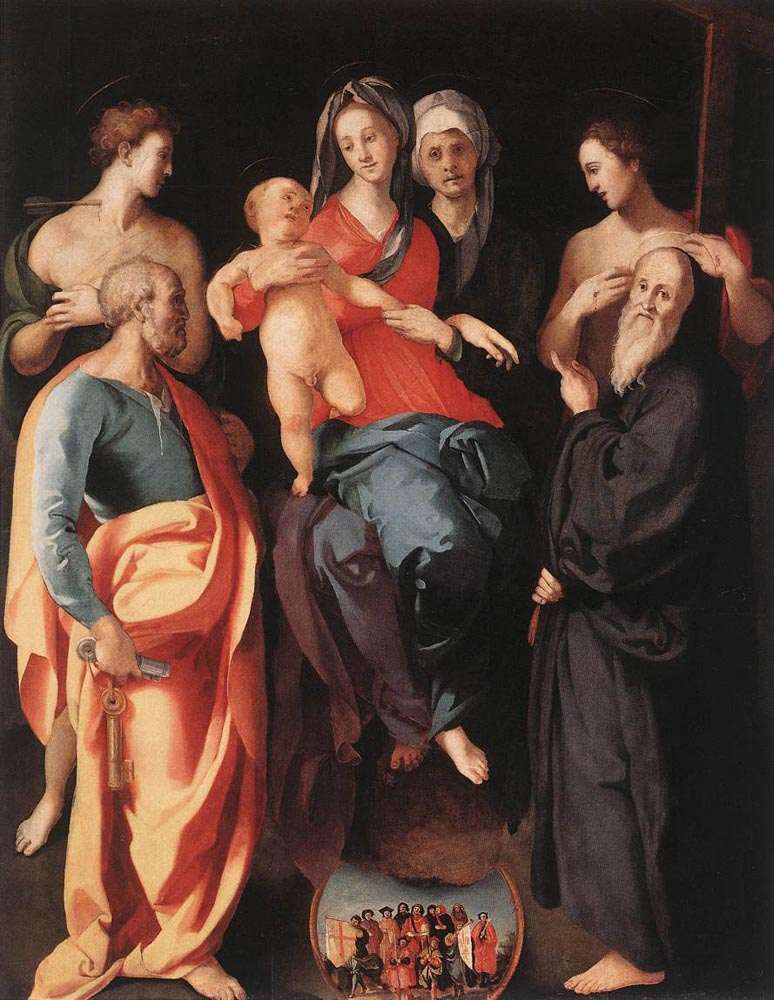 Jacopo Pontormo. Altar of Sts. Anne. Madonna with sv. Anna Left: St. Sebastian and the Apostle Peter. Right: Apostle Philip and Sts. Benedict