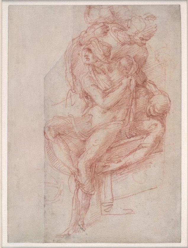 "Michelangelo Buonarroti. The sketch for the ""Resurrection of Lazarus"""
