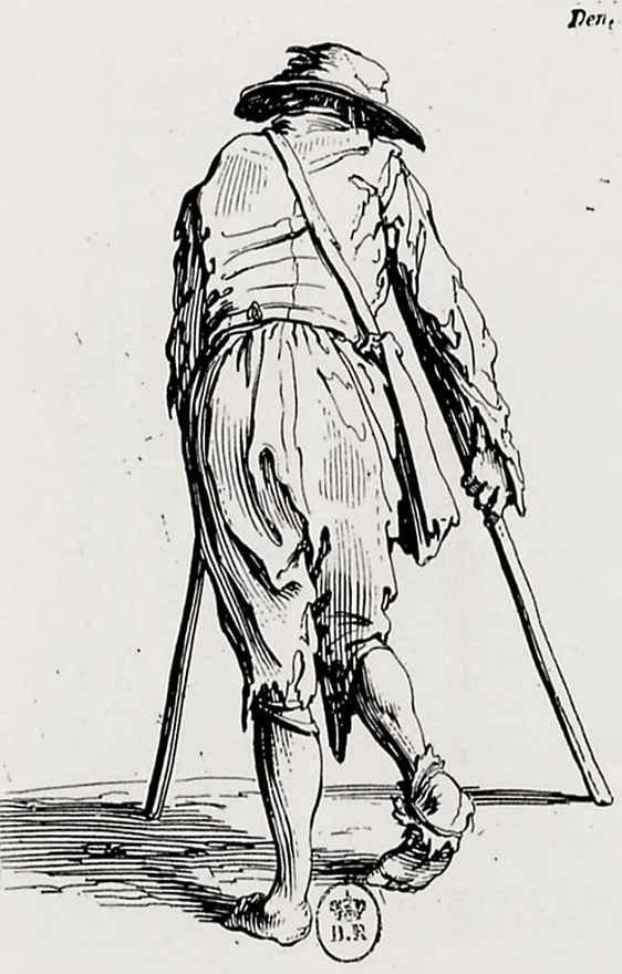 Жак Калло. Нищий с двумя костылями со спины
