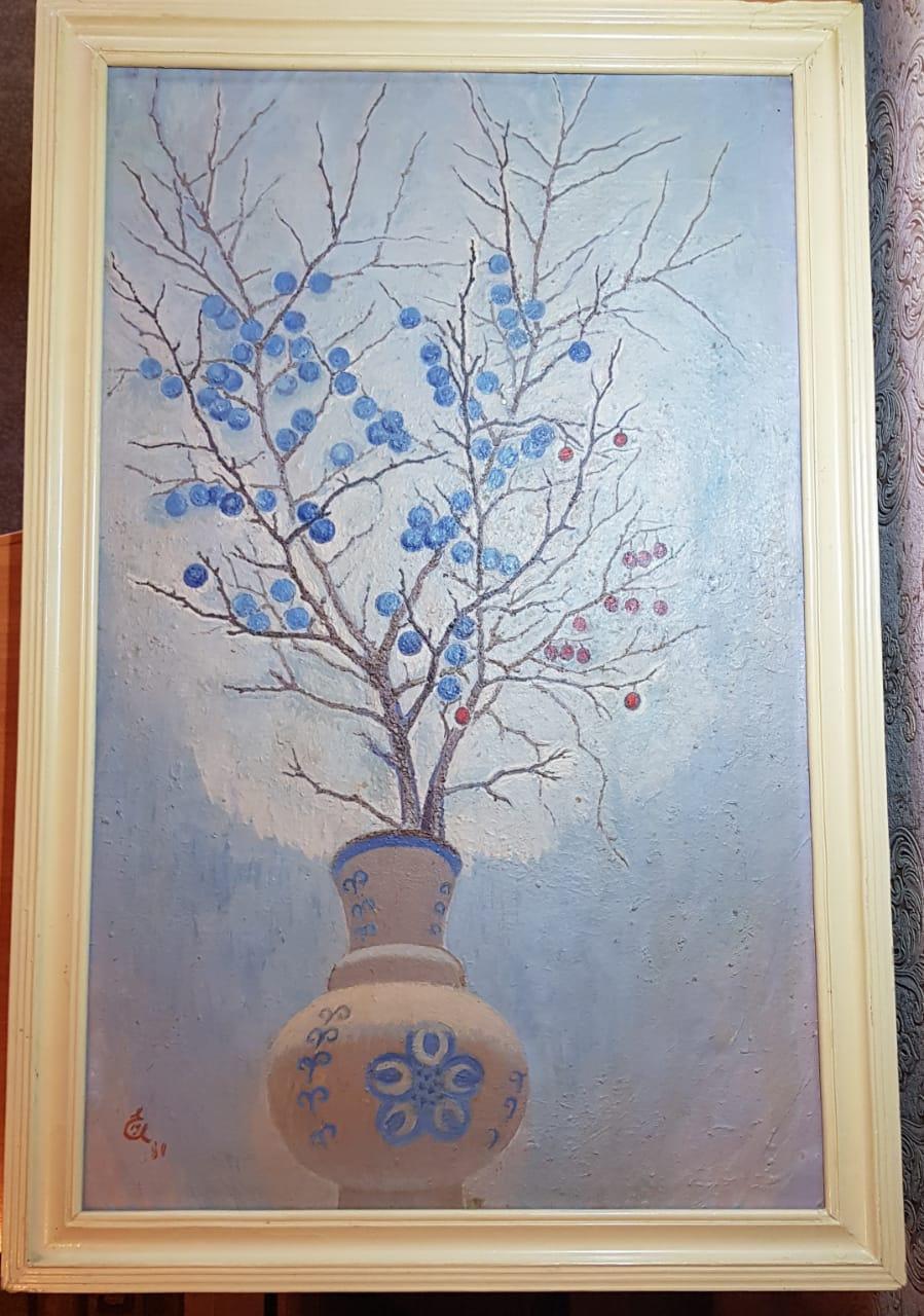 Yuri Semenovich Evseev. Twig of thorns in a blue vase