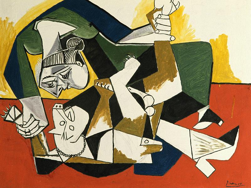 Пабло Пикассо. Женщина, играющая с собакой