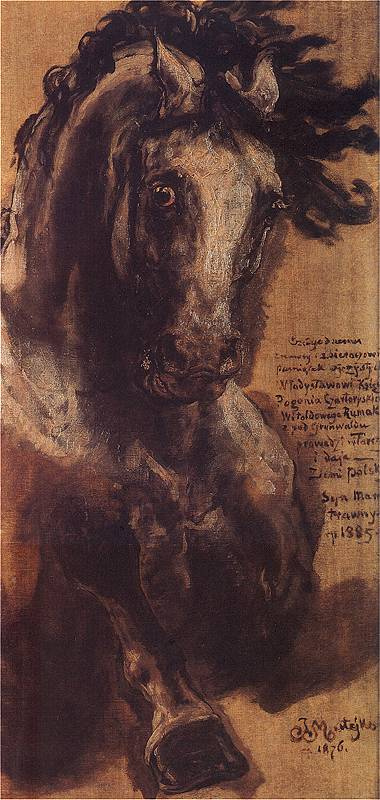 Ян Матейко. Конь в галопе. Эскиз для изображения коня Витольда