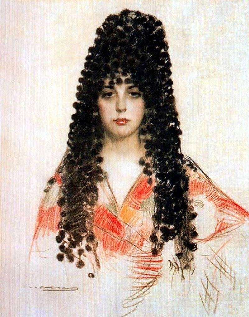 Ramon Casas i Carbó. Portrait of a young woman in mantilla