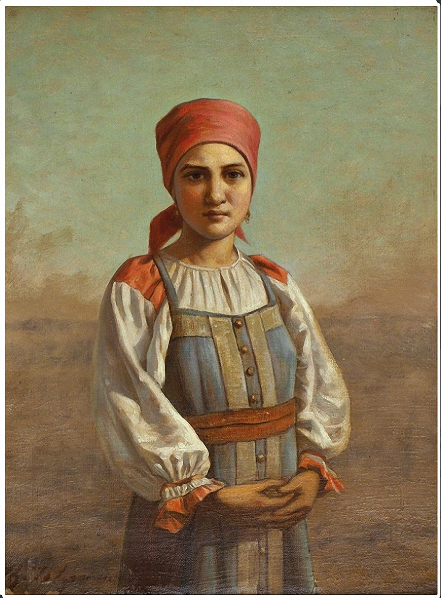 Fedor Petrovich Chumakov. Head. Portrait of a girl in Russian costume. The second half of the XIX century.