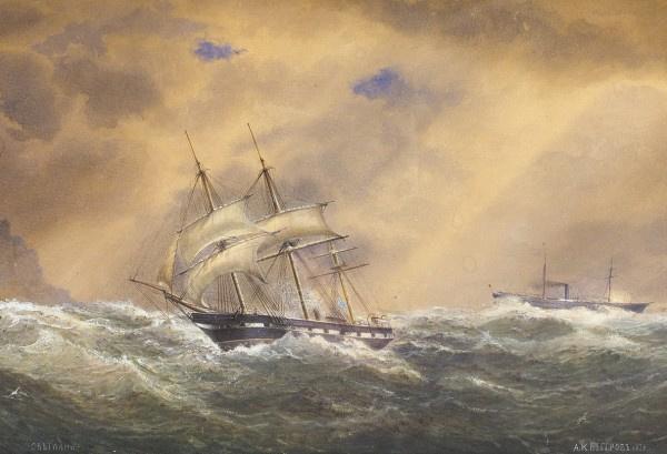 "Alexander Karlovich Beggrov. ""Frigate ""Svetlana"" in stormy weather"". 1878."