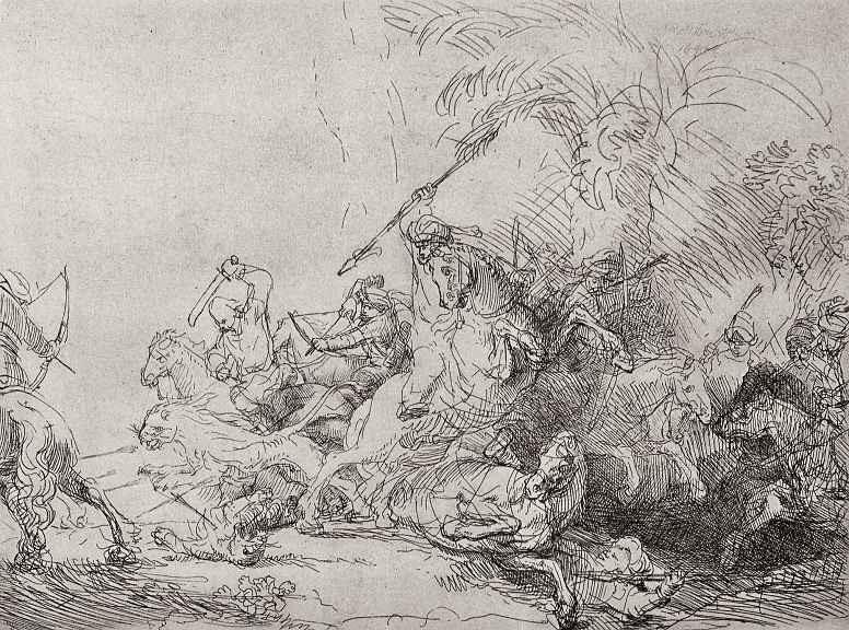"""Рембрандт Ван Рейн. Так называемая """"Большая охота на львов"""""""