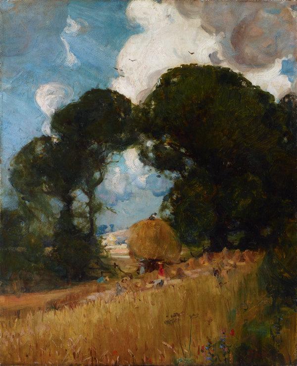 Arthur Ernest Streaton. Harvesting in Sussex