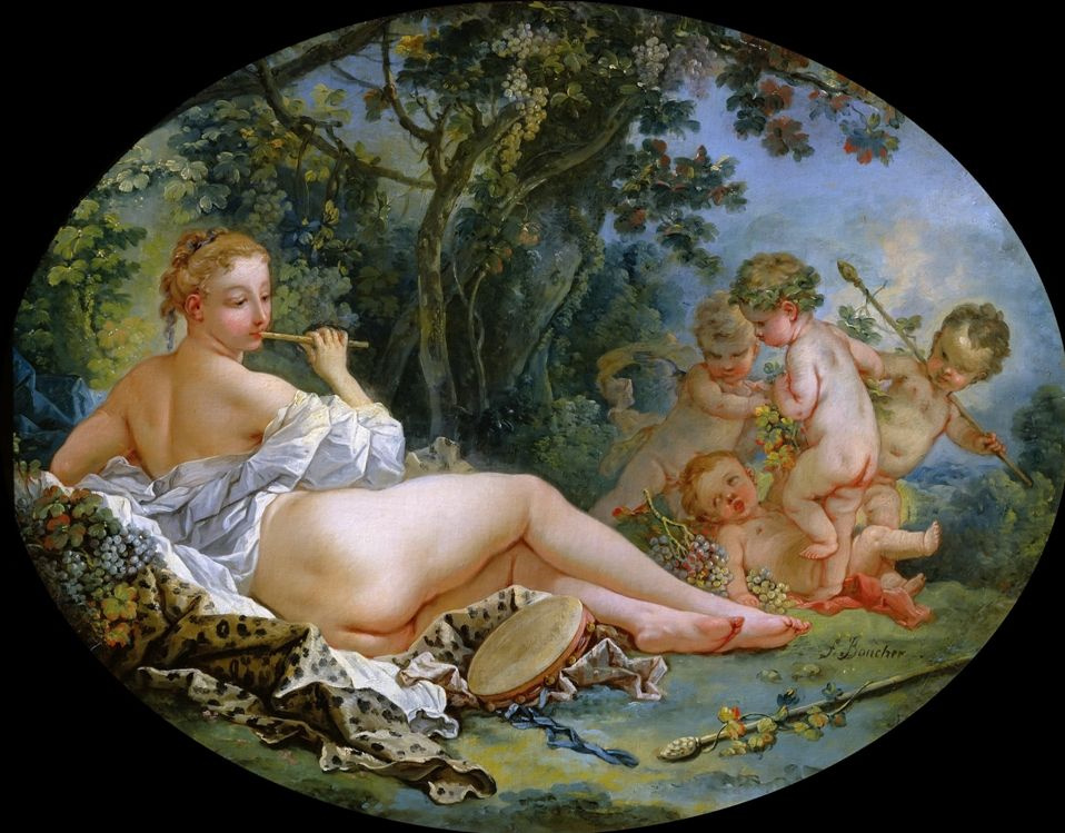 Francois Boucher. Bacchante playing the flute