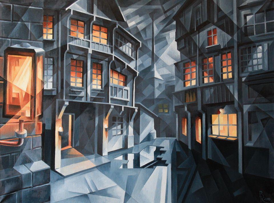Vasily Krotkov. The city. Kubofuturizm