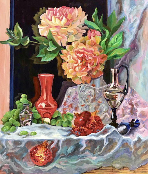 Larissa Lukaneva. Still life with pomegranate and peons
