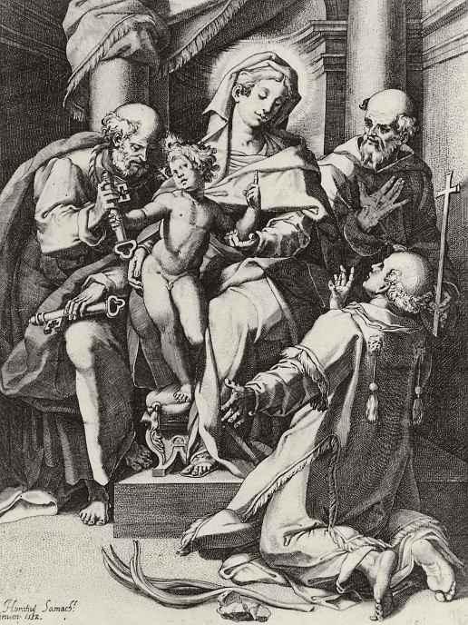 Агостино Карраччи. Мадонна с младенцем и святыми Петром, Стефаном и Франциском