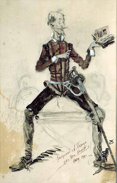 Alexander Nikolaevich Benoit. Don Quixote. Costume don Quixote for Chaliapin