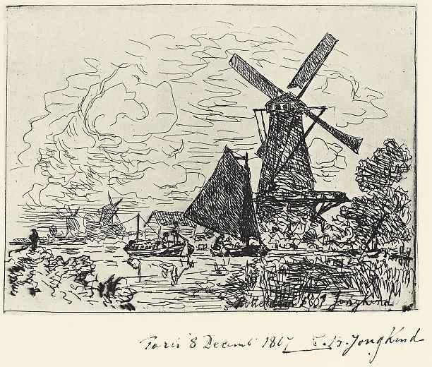 Ян Бартолд Йонгкинд. Мельницы в Голландии