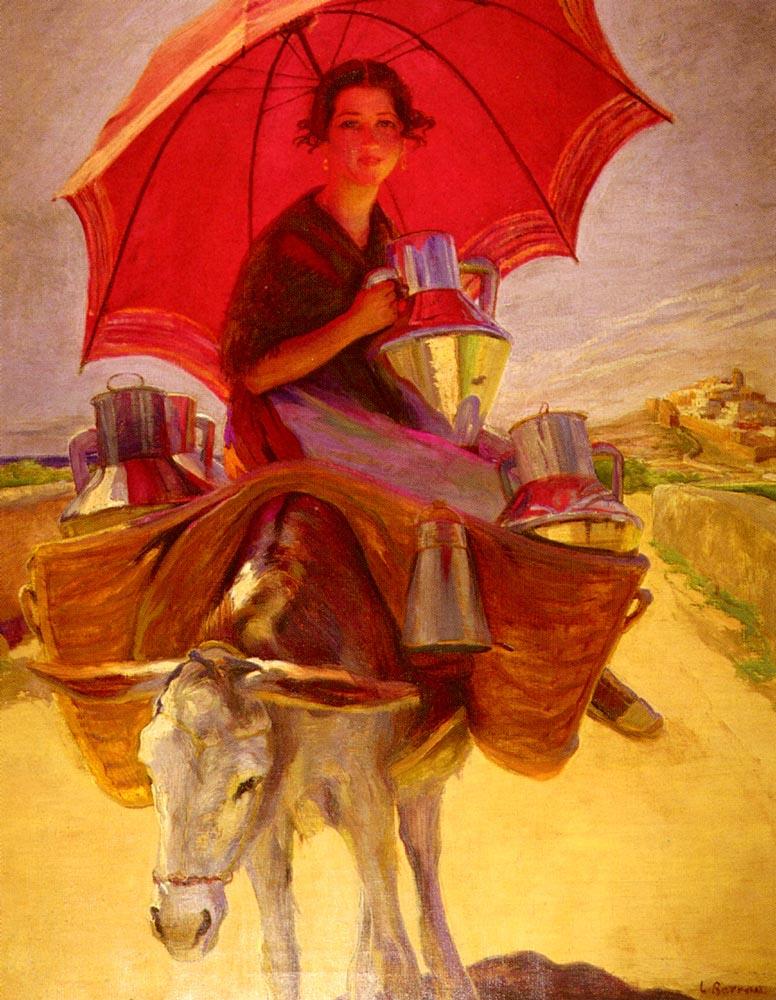 Laureano Barrau. Red umbrella