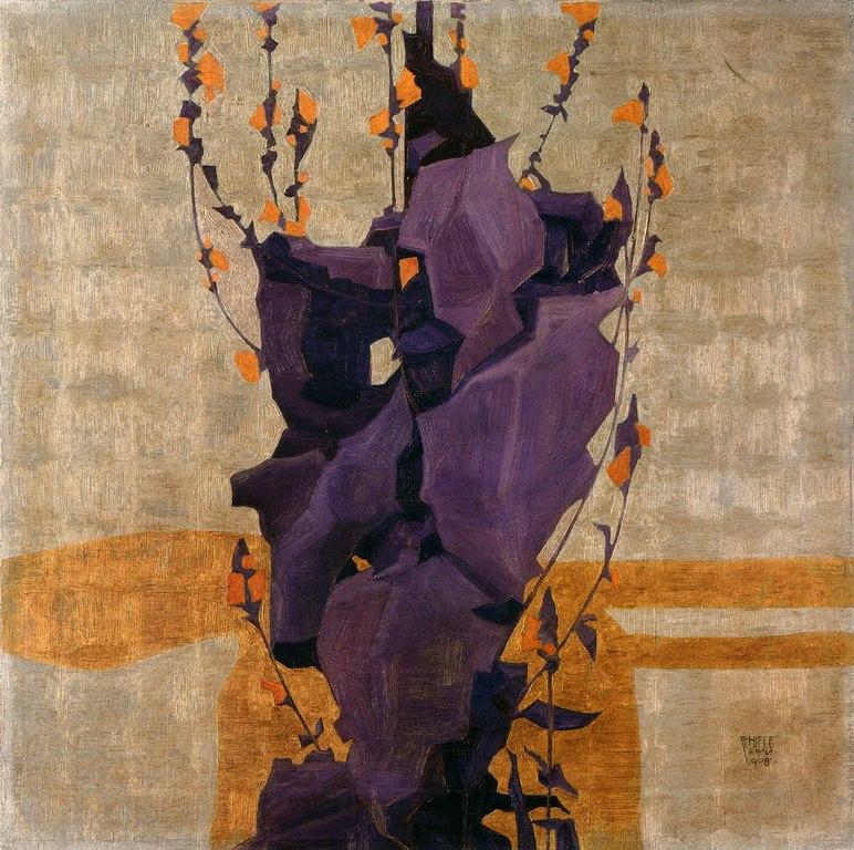 Egon Schiele. Stylized flowers on decorative background