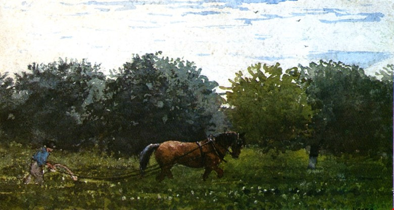 Winslow Homer. On arable land, farm Houghton