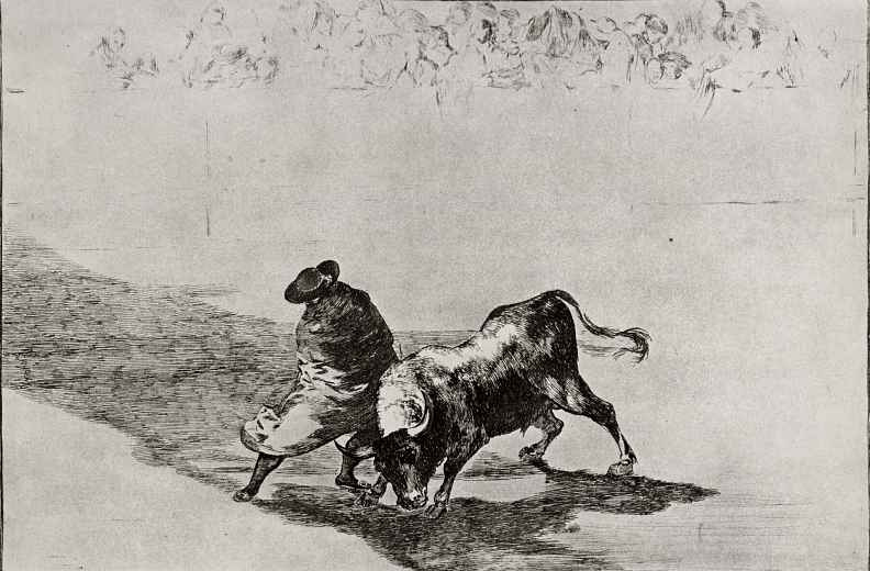 """Франсиско Гойя. Серия """"Тавромахия"""", лист 14: Проворный студент де Фальсес, завернувшись в плащ, дразнит быка, искусно увертываясь от него"""