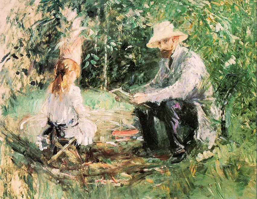 Берта Моризо. Эжен Мане с дочерью в саду