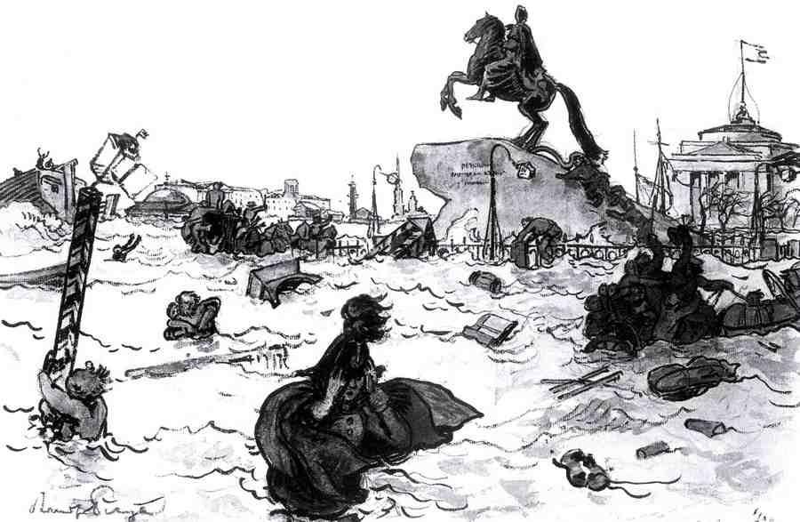 "Alexander Nikolaevich Benoit. Illustration to Pushkin's poem ""the bronze horseman"" (the overflowing Neva)"
