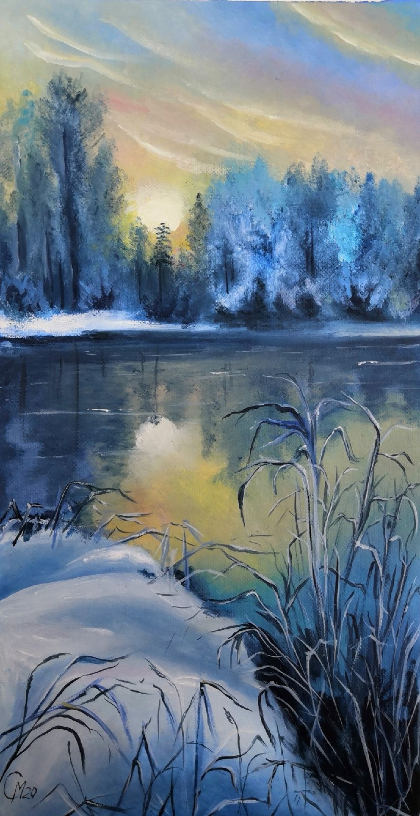 "Мария Евгеньевна Сироткина. Oil painting ""Winter morning on the lake"""