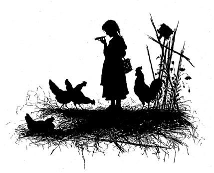 Елизавета Меркурьевна Бём (Эндаурова). Силуэты людей и куры