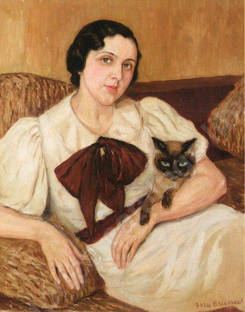 Борис Дмитриевич Григорьев. Женщина с котом