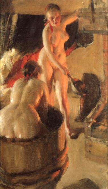 Андерс Цорн. Даларнийские девушки в бане. 1906