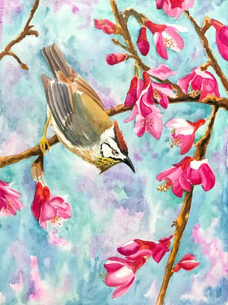 Larissa Lukaneva. Цветы и птица