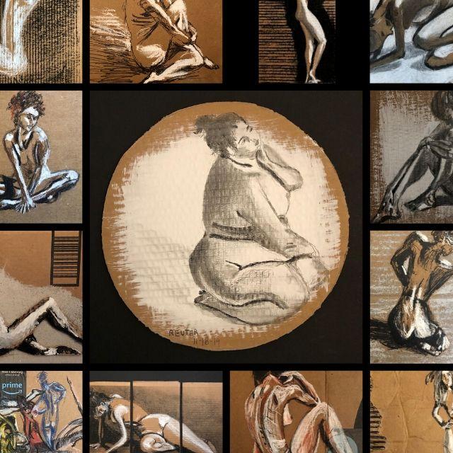 David Reuter. Recycled Amazon Cardboard Figure Drawings