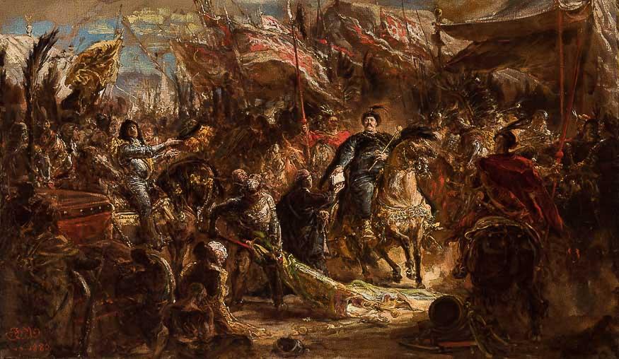 Ян Матейко. Ян III Собеский вручает канонику Денхоффу письмо папе с новостью о победе над турками в Вене в 1683 году. Эскиз