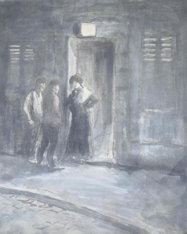 Theophile-Alexander Steinlen. At the entrance to the brothel