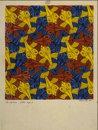 Мауриц Корнелис Эшер. Синие, желтые и красные фигуры