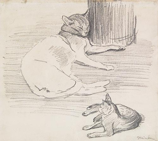 Theophile-Alexander Steinlen. Street cat with a kitten
