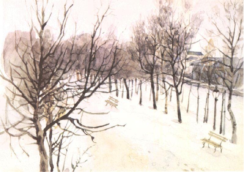 Василий Иванович Суриков. Зубовский бульвар зимой