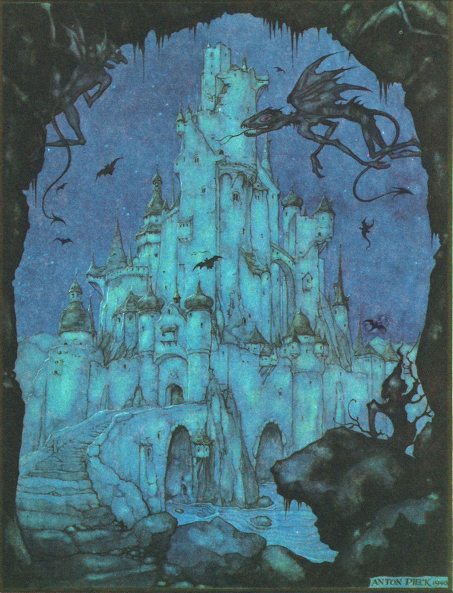 Anton Pieck. The ghostly castle. Illustration for the fairy tales of the brothers Grimm