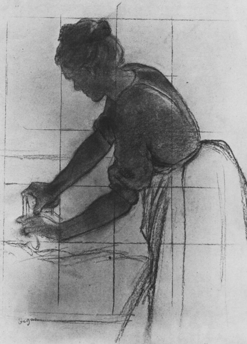 Edgar Degas. The old Ironing woman standing against the light
