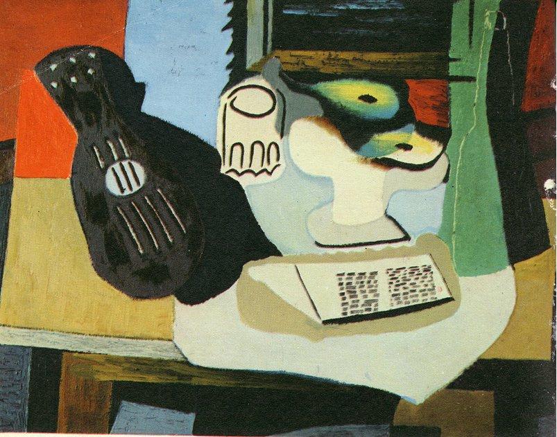 Пабло Пикассо. Гитара, бокал и блюдо с фруктами