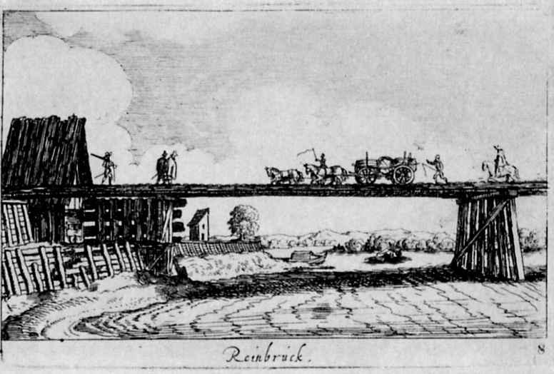 Венцель Холлар. Мост через Рейн у Страсбурга