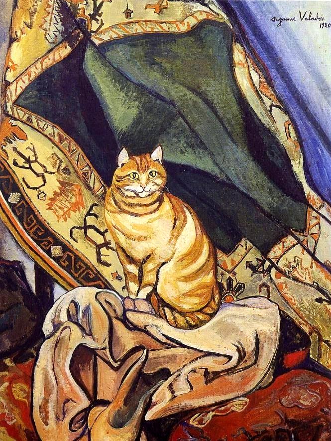 Suzanne Valadon. Cat sitting on the fabric