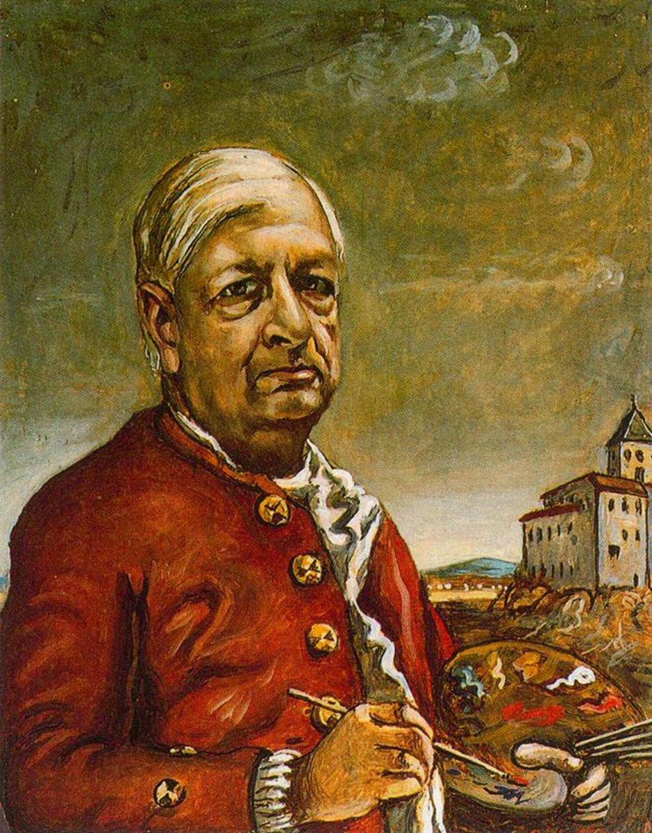 Giorgio de Chirico. Self portrait with palette