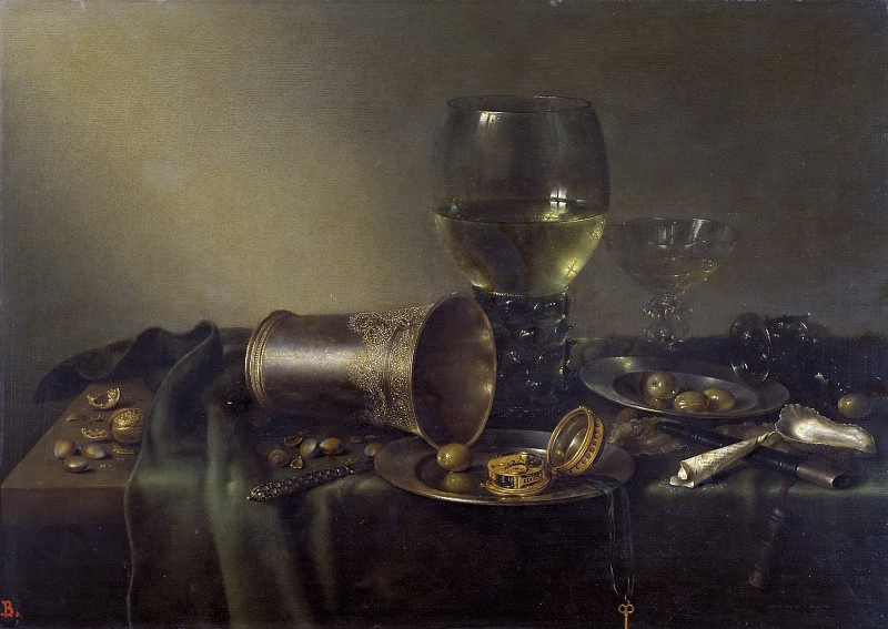 Willem Claesz Heda. Still life with a clock
