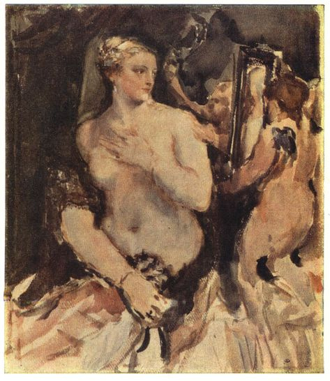 Valentin Aleksandrovich Serov. Venus with a mirror. Watercolor paintings by Titian, 1565