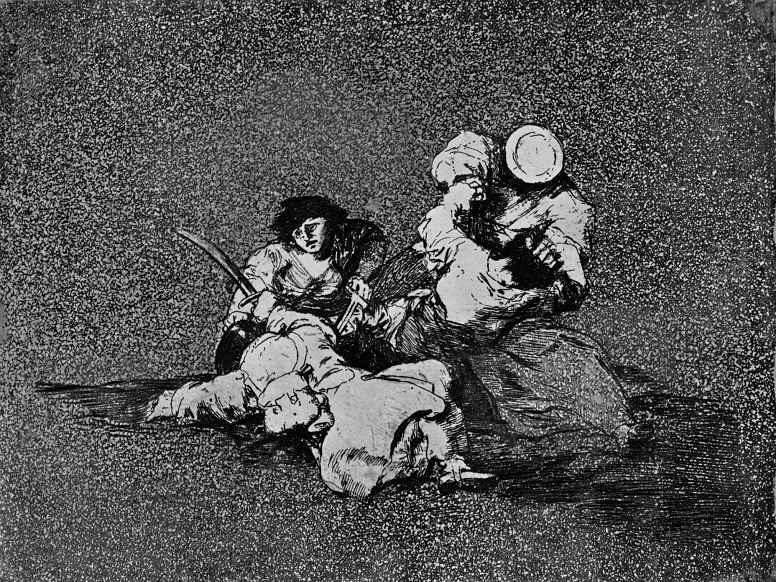 """Франсиско Гойя. Серия """"Бедствия войны"""", лист 04: Женщины придают мужество"""
