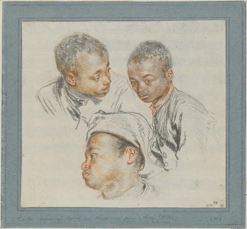Антуан Ватто. Три эскиза головы чёрного мальчика