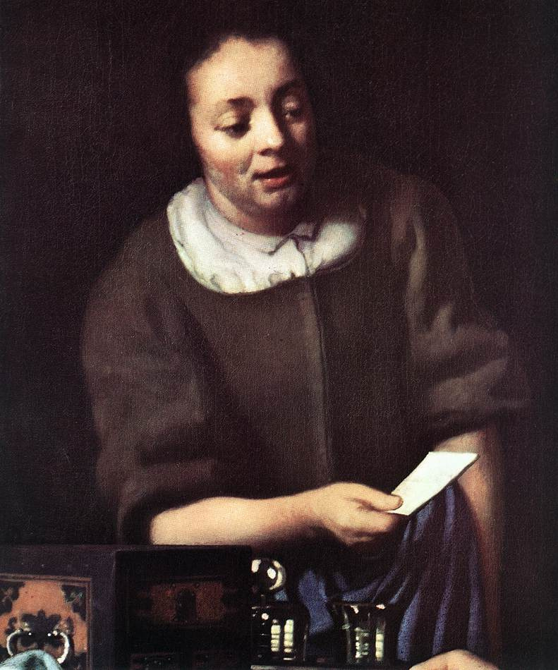 Jan Vermeer. Mistress and her maid. Fragment