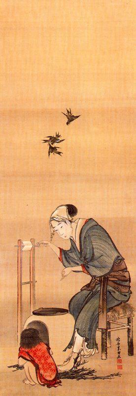 Кацусика Хокусай. Женщина прядения шелка